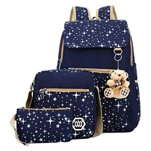 ABage-Girls-Canvas-Backpack-Set-3-Pieces-Patterned-Bookbag-Laptop-School-Backpack