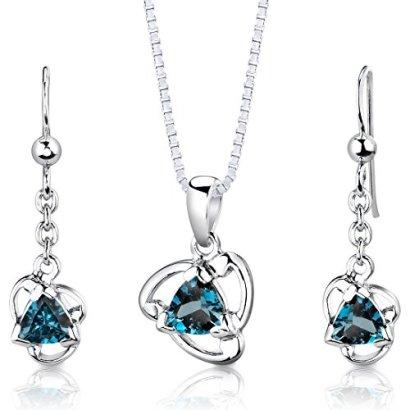 London-Blue-Topaz-Pendant-Earrings-Necklace-Set-Sterling-Silver-275-Carats