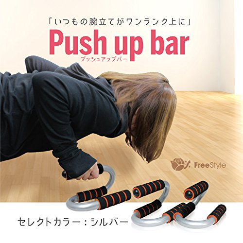 プッシュアップバー プッシュアップグリップ 腕立て補助 胸/三角筋/肩 銀