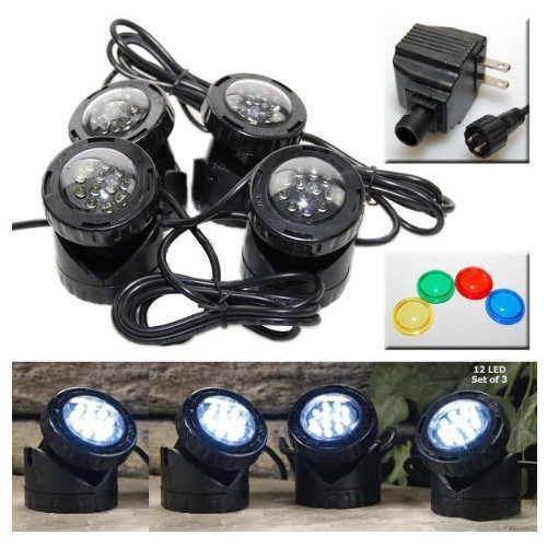 jebao 4 led super bright outdoor underwater pond fountain spot light kits 4 color lens coconuas179