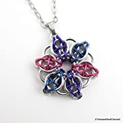 Bisexual pride pendant chainmaille Celtic star