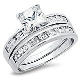Sterling Silver Cubic Zirconia 2.8 Carat tw Princess Cut CZ Wedding Engagement Ring Set