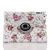 TOPCHANCES Auto Sleep/Wake Function 360 Degree Rotating Smart Case Cover for 9.7 inch Apple iPad 2/3/4 with a Stylus as a Gift- (White Rose)