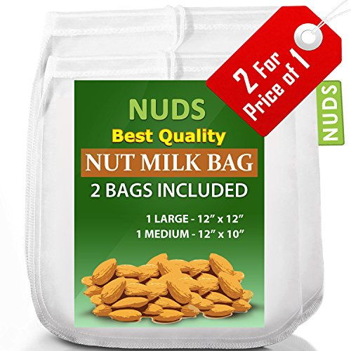 2 Large Nut Milk Bags – 12×12 & 10×12 Inches Reusable Strainer – 12″x12″ & 10″x12″ Almond Milk Hemp Bags Made From Food Grade Fine Nylon Mesh Strainer – White
