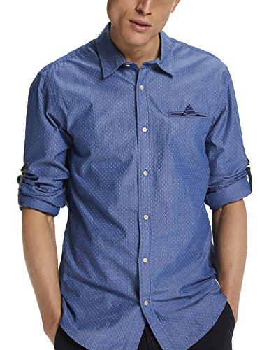 Scotch & Soda Herren Freizeit Hemd Longsleeve Shirt with All-Over Printed Fixed Pochet