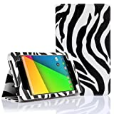 SUPCASE New Google Nexus 7 FHD 2nd Generation Tablet Slim Fit Folio Leather Case - Zebra Black (Free Stylus, Elastic Hand Strap, Compatible with ASUS Google Nexus 7 Full HD 2 2.0 II Tablet 2013 Version)