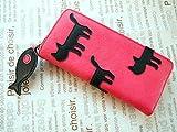 シルエット猫 長財布 ピンク カジュアルでポップな配色と魚のチャームがおしゃれでかわいい♪ 大人の財布 俣野温子・またのあつこ