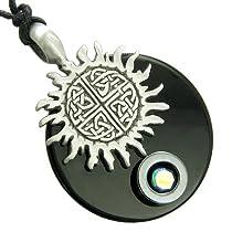 Positive Energy Sun Celtic Shield Knot Spiritual Amulet Circle Black Onyx and Hematite Pendant Necklace
