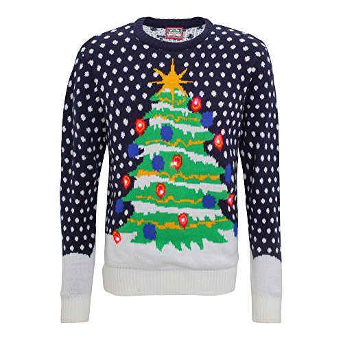 Christmas Shop Mens 3D Light Up Christmas Tree Knitted Jumper