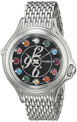 Fendi-Womens-F105031000T05-Crazy-Carats-Analog-Display-Swiss-Quartz-Silver-Watch