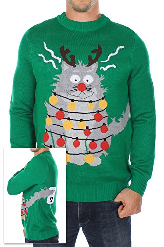 Men's Ugly Christmas Sweater - The Electrocuted Cat Sweater Green Size XL