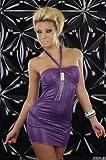 Minikleid Abendkleid glänzend mit Strass und Neckband lila