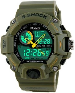 Fanmis-Mens-Sports-Analog-Digital-LED-Watch-Military-Multifunctional-Waterproof-Wristwatch-Green
