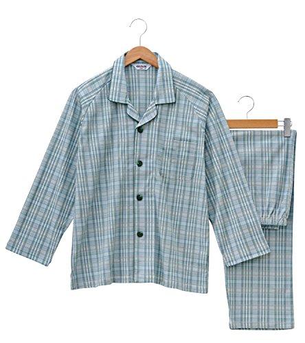 (グンゼ)GUNZE 紳士パジャマ(マジックテープ仕様)長袖長パンツ(スムース) SG2295 70 グリーン L