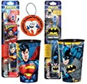 """Super Hero Inspired Batman Vs. Superman 4pc Bright Smile Oral Hygiene Set! Includes Turbo Power Toothbrushes & Matching Mouthwash Rinse Cup! Plus Bonus """"Remember to Brush"""" Visual Aid!"""