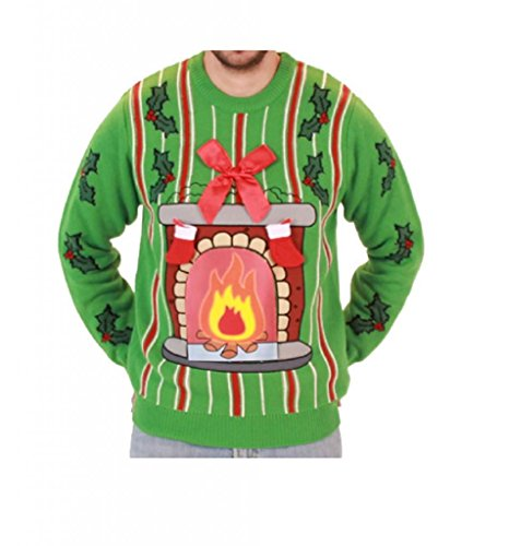 Fireplace LED Light Up Ugly Christmas Sweater (Adult X-Large)