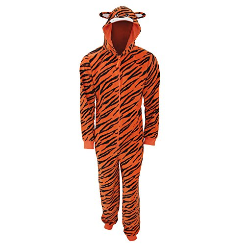 Mens Tiger Print Hooded Full Zip Fleece Onesie