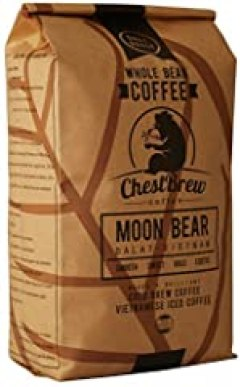 ChestBrew Moon Bear Whole Bean Coffee From Vietnam, the Best Bean for Hot or Iced Coffee - 20 Ounce Bag
