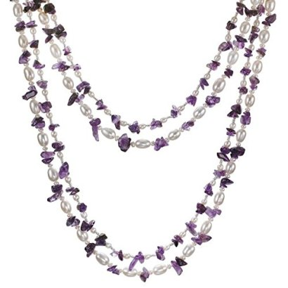 HinsonGayle-2-Strand-Freshwater-Cultured-Pearl-Gemstone-Necklace-Dangle-Earring-Set