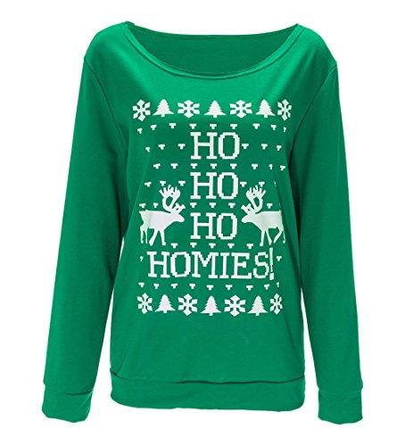 Sumtory Women Christmas Tree ELK Bell Snowflake Print Pullover Sweatshirt