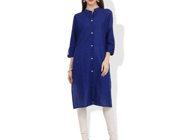 BLUEPOCKET Front Button Kurti / Kurta for women(Dark Blue, Cotton)