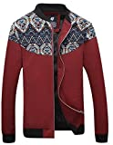 QZUnique Men's Fashion Casual Front-Zip Jacket Printing Pattern Outwear Thermal Red M