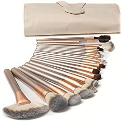 CDC® 18 Stück Professionelle Kosmetik Make-up Pinsel Werkzeuge Kosmetik Make-up-Pinsel-Set mit Roll up PU-Leder Tasche Holzgriff