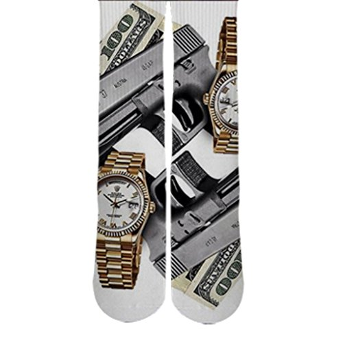 DopeSox Men's Guns Money Rolex Urban Fashion Printed Socks One Size (6-12) White