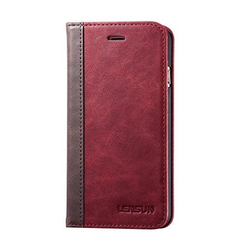 LENSUN iPhone7 ケース 手帳型 本革 レザー マグネットなし カード収納 スタンド機能 iphone7 カバー 手帳型 アイフォン7ケース