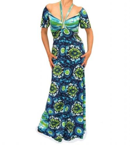 Blue Banana - Blau und Grün aus der Schulter Lang Kleid