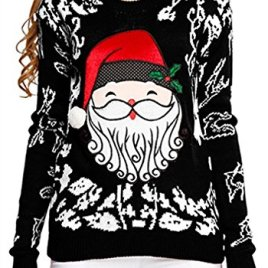 Ugly Christmas sweater, V28 Women Girls ladies Reindeer Fun Cute Knit Sweater