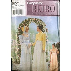 Simplicity 9221 - Regency Tea Gown and Jacket Costume Pattern - Size DD (4, 6, 8, 10)