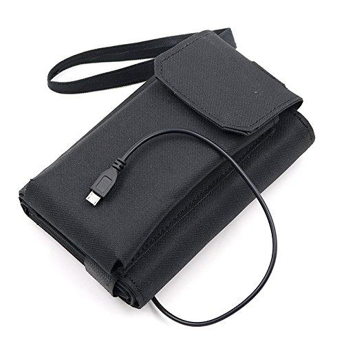 アウトドア ポータブル ソーラーチャージャー 太陽光充電器 折りたたみ USBケーブル付き スマホ/iPad/モバイルバッテリ充電可能 応急対策 ソーラーパネル ブラック