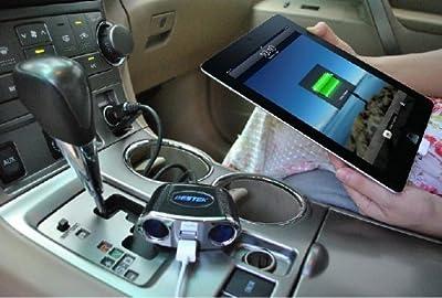 BESTEK® シガーソケット 車載電源充電器 2連増設ソケット分配 カーチャージャー USB2ポート搭載 12V/24V車対応 合計消費電力 150W MRS152BK (LED無し)