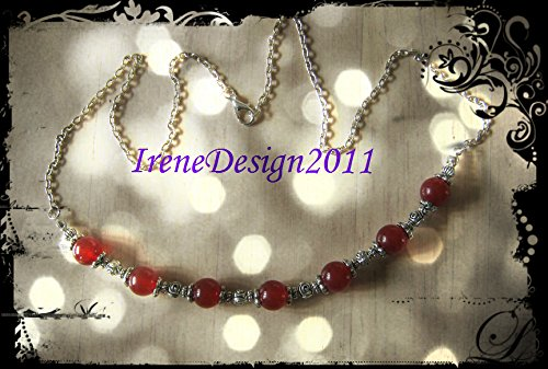 Silver Necklace with Red Jade & Roses