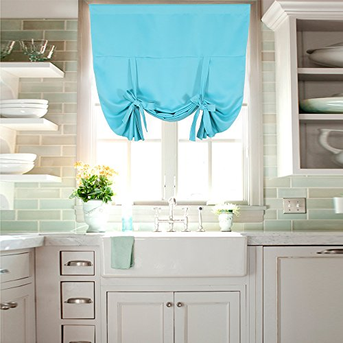 NICETOWN Thermal Insulated Turquoise Blackout Curtain - Tie Up Shade for Small Window (Rod Pocket Panel, 46