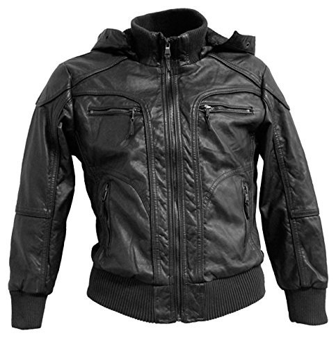 Removable Hooded Faux Leather Jacket