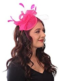 French Kiss Fascinator Sinamay Tea Party Derby Hat Headband with Bow Feathers Net and Veil (Hot Pink)