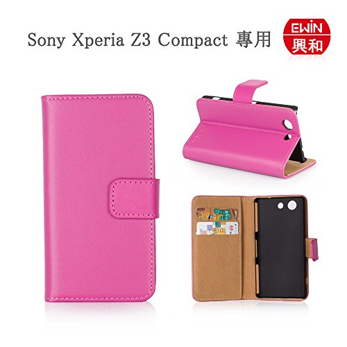 【Ewin】エクスペリア Sony Xperia Z3 Compact SO-02G ドコモ docomo 専用 保護ケース 手帳型 二つ折 マグネット スタンド機能付き 本革 保護ケース ローズ