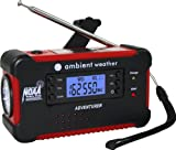 Ambient Weather WR-111B Emergency Solar Hand Crank AM/FM/NOAA Digital Radio, Flashlight, Cell Phone Charger with NOAA Certified Weather Alert & Cables