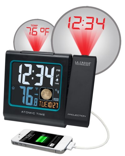 La Crosse Technology 616-146A Color LCD Projection 5-Inch Alarm Clock with Moon Phase
