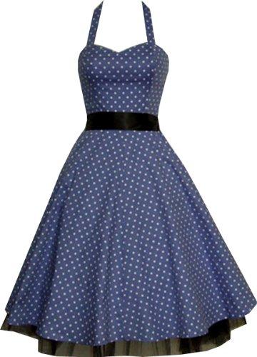 Pretty Kitty Fashion 50s Polka Dot Blau Weiß Neckholder Cocktail Kleid