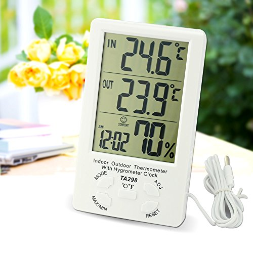 LingsFire® Digital LCD Indoor/Outdoor Thermometer Humidity Hygrometer With Min/ Max Value And Clock