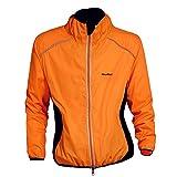 WOLFBIKE Cycling Jacket Jersey Sportswear Long Sleeve Wind Coat, Color: Orange, Size: XXXXL