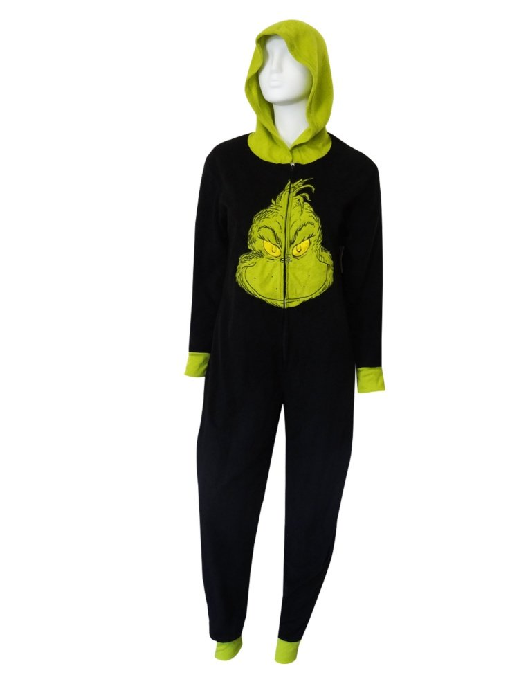 Dr Seuss Womens Black Fleece Grinch Pajama Hooded Sleeper Union Suit