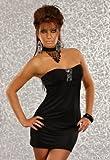 Minikleid Cocktailkleid in Bandeau Form mit Strass schwarz