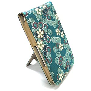 JAVOedge Cherry Blossom Flip Style Case for the Barnes & Noble Nook (Ocean Blue) - First Generation