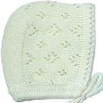 Knit Elegant Baby Boy or Girl Bonnet, Size: 0-3 M, Colors: Ivory