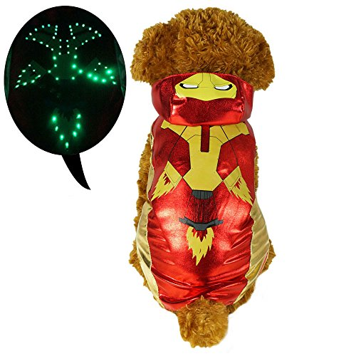 Pawow LED Light up Iron Man Pet Costume Puppy Dog Hoodie Clothes, Large, 16-Inch
