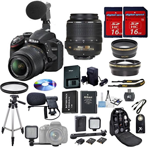 Nikon D3200 DSLR Camera Digideals Video Microphone Bundle with 18-55mm f/3.5-5.6 AF-S VR Nikkor Zoom Lens + HD U.V. Filter + Wide Angle Lens + Telephoto Lens + LED Video Light for Photography + Video Microphone + Deluxe Backpack + 2pcs 16GB Memory Cards + Card Reader + Professional Size Tripod + Extra Long Lasting Battery + Travel Charger + Video Kit
